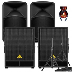 Behringer B112D x2 + VQ1500D x2 + statywy + kable